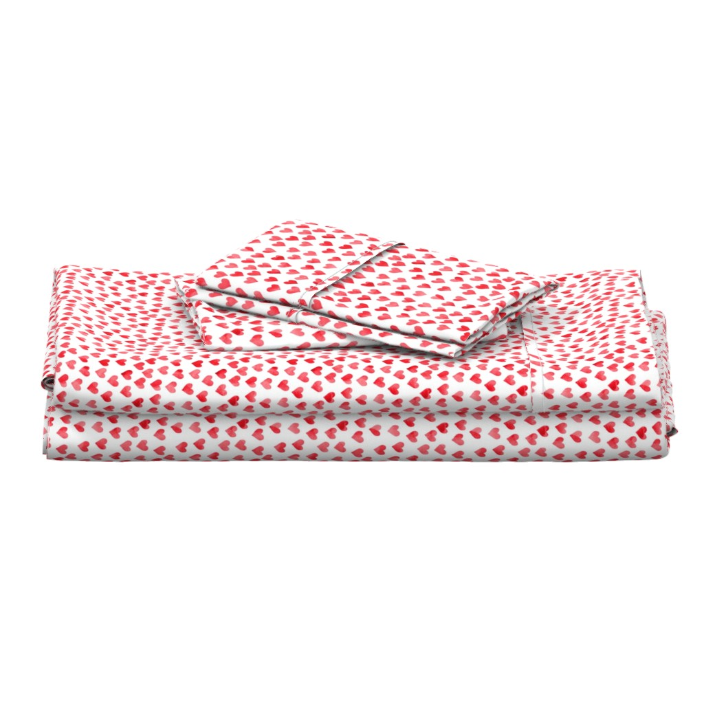 Langshan Full Bed Set featuring watercolor hearts in red by littlearrowdesign