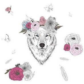 """8"""" Girl Wolf with Flowers"""