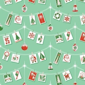 Season's Greetings* (Red & Green on Green Stamps) || greeting cards Christmas holiday holly snowflake winter December ornaments garland stars Santa Claus tree candy cane snowman bells vintage ephemera