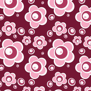 Pink Flowers, maroon, white and pink