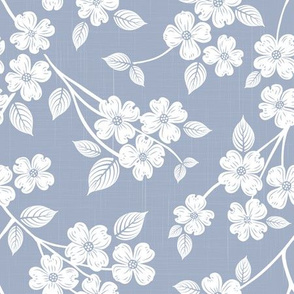 Dogwood Block Print Cornflower Blue