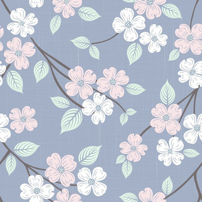 Dogwood Block Print Blue with Pink and White