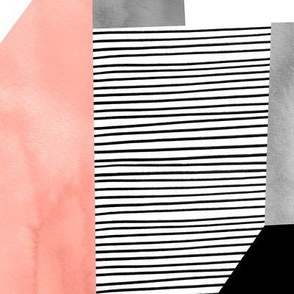 Blush and Black and White Stripes Geomteric Composition