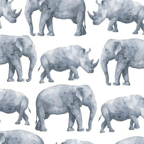 Watercolor elephant and rhinoceros