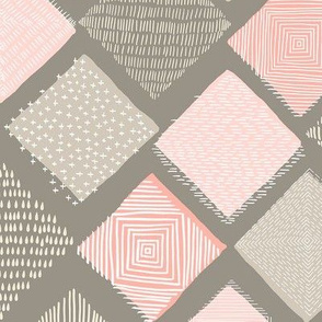 Tan and Blush Argyle with Texture