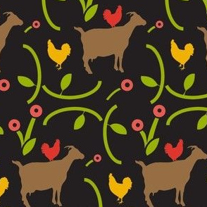 Chickens and Goats in a Field of Modern Flowers, German Folk Art, Tole
