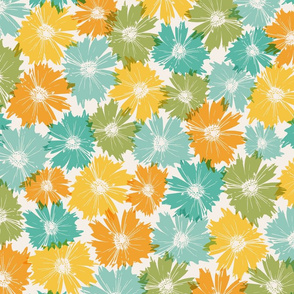 Fall Flowers in Blues and Oranges