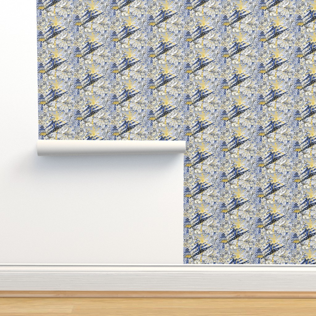 Isobar Durable Wallpaper featuring Winter Mod Limited Color Palette, small scale, blue yellow gray white by amy_g