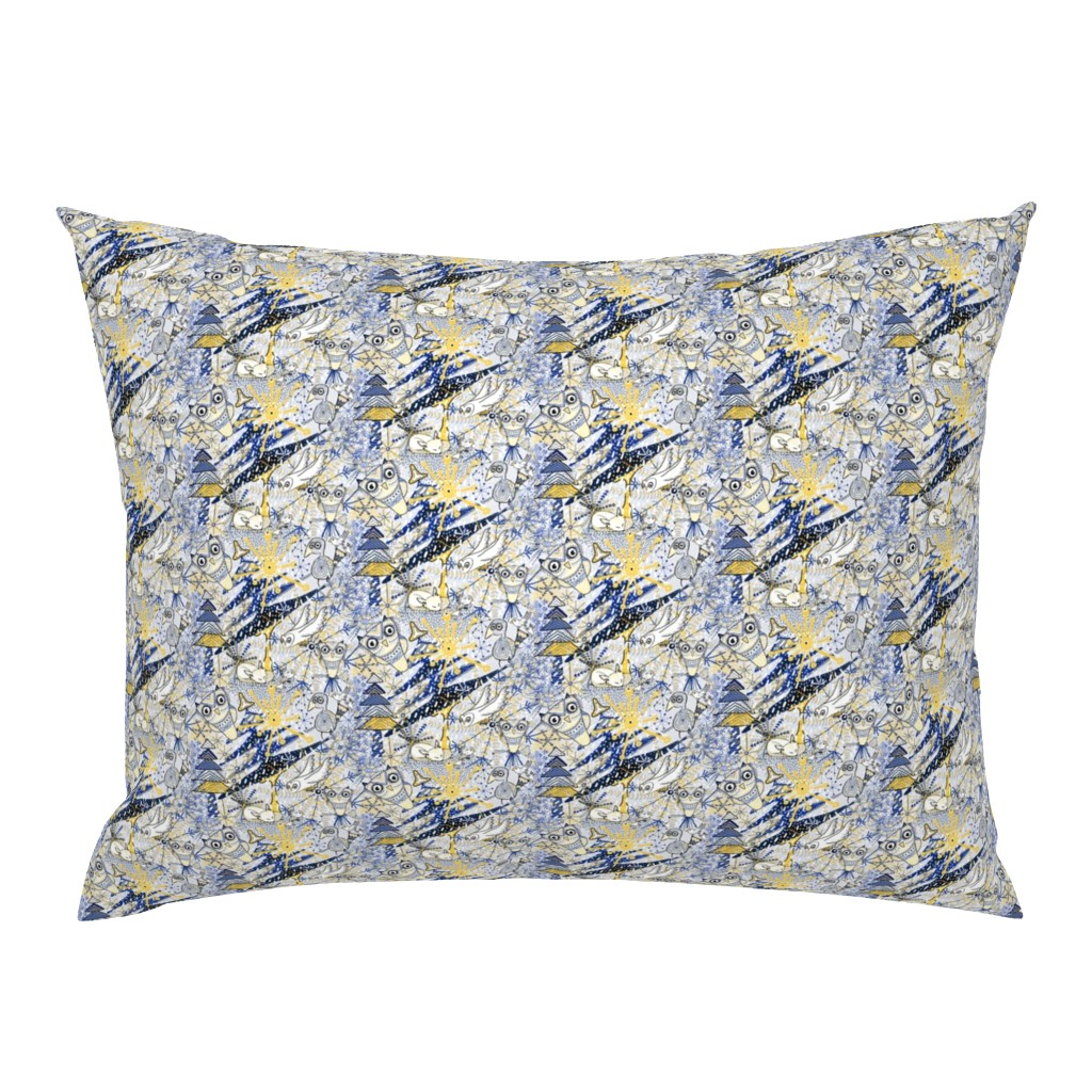 Campine Pillow Sham featuring Winter Mod Limited Color Palette, small scale, blue yellow gray white by amy_g