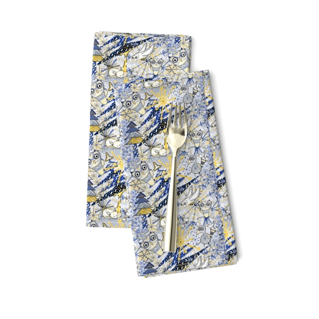 Amarela Dinner Napkins featuring Winter Mod Limited Color Palette, small scale, blue yellow gray white by amy_g
