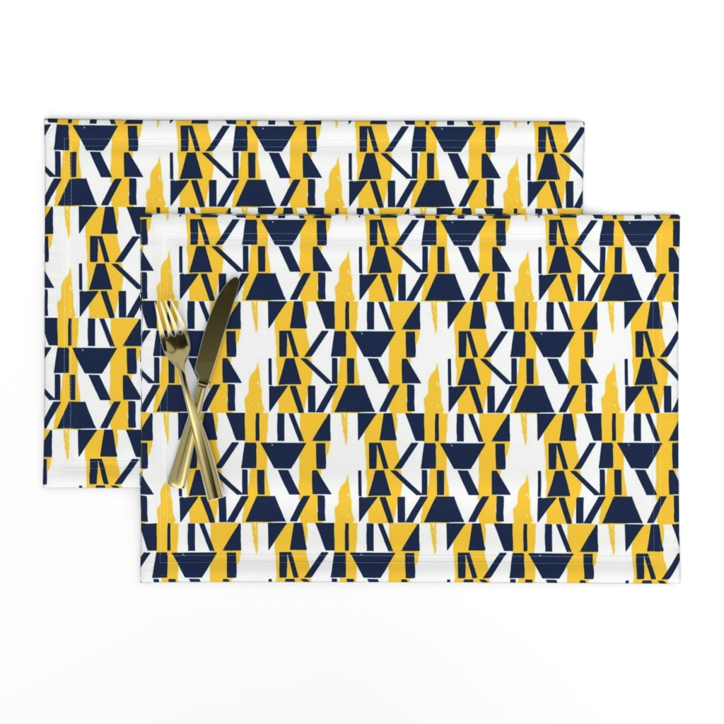 Lamona Cloth Placemats featuring Oxford and Sunglow Abstract Stripe by mottle&daub