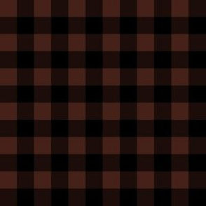 Half Inch Brown and Black Gingham Check