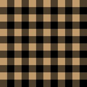 Half Inch Camel Brown and Black Gingham Check