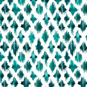 Emerald ikat watercolor pattern