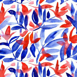 Watercolor red and blue floral pattern