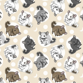 Chinchillas and moon dots - medium tan