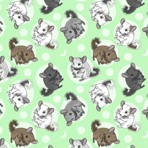 Chinchillas and moon dots - medium green