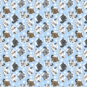 Chinchillas and moon dots - small blue