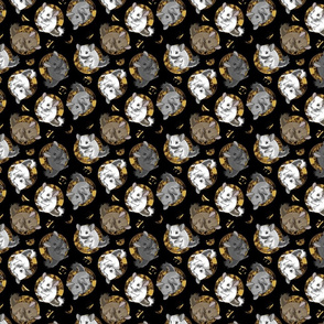 Chinchillas and moon dots - small faux gold