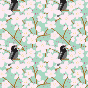 Bird and Cherry Blossoms in Turquoise