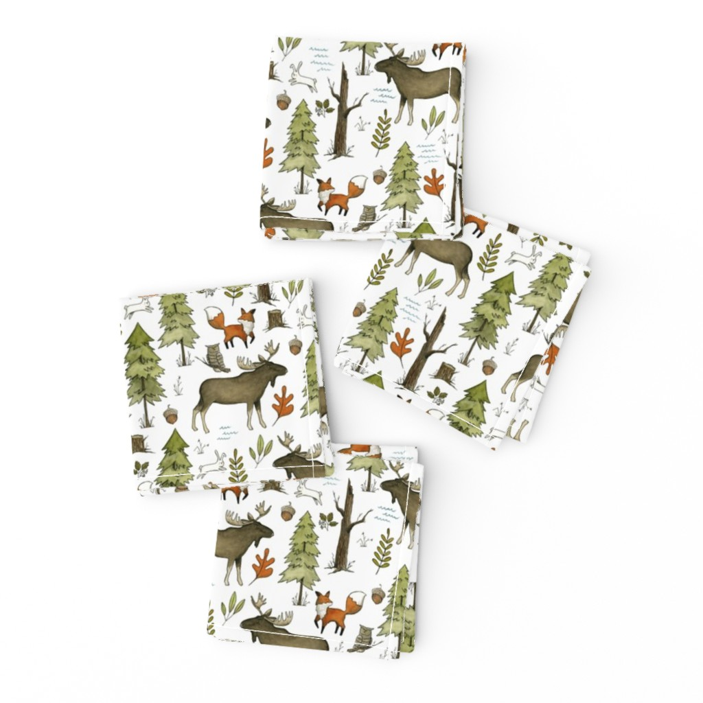 Frizzle Cocktail Napkins featuring Forest Walks, Small Scale by papercanoefabricshop