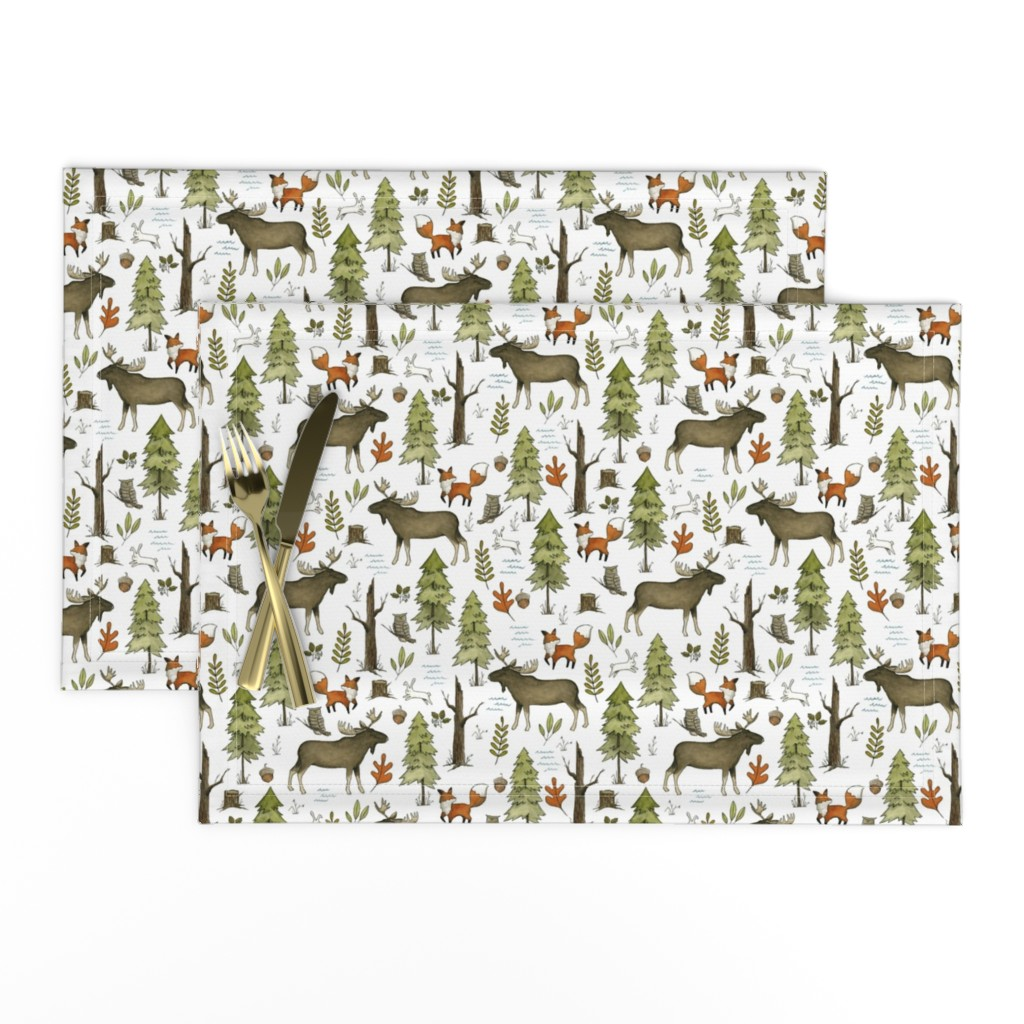 Lamona Cloth Placemats featuring Forest Walks, Small Scale by papercanoefabricshop