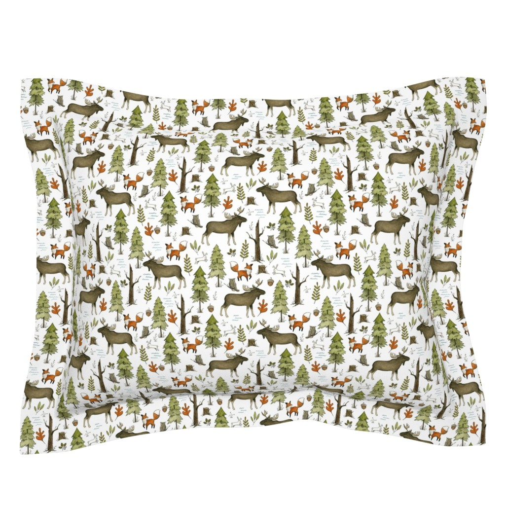 Sebright Pillow Sham featuring Forest Walks, Small Scale by papercanoefabricshop