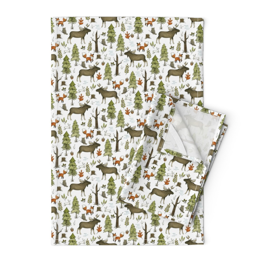 Orpington Tea Towels featuring Forest Walks, Small Scale by papercanoefabricshop