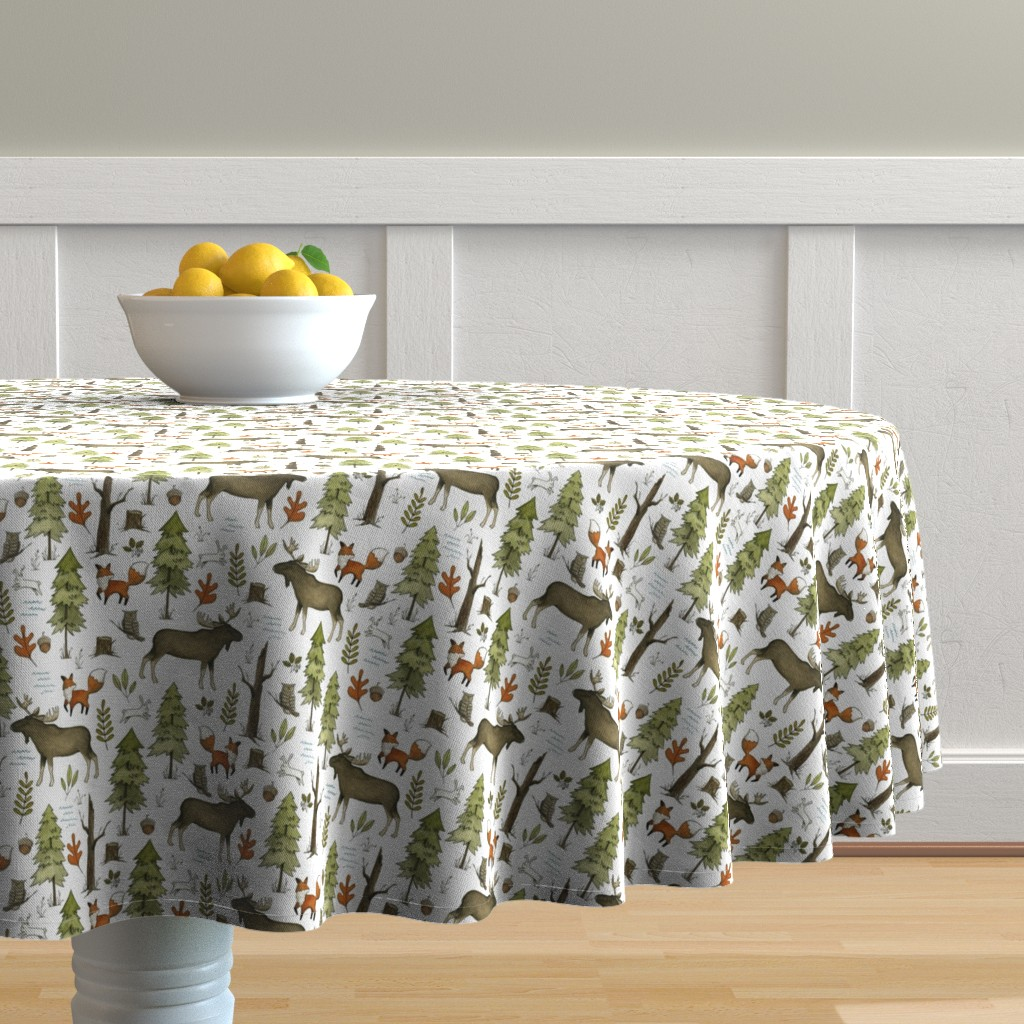 Malay Round Tablecloth featuring Forest Walks, Small Scale by papercanoefabricshop