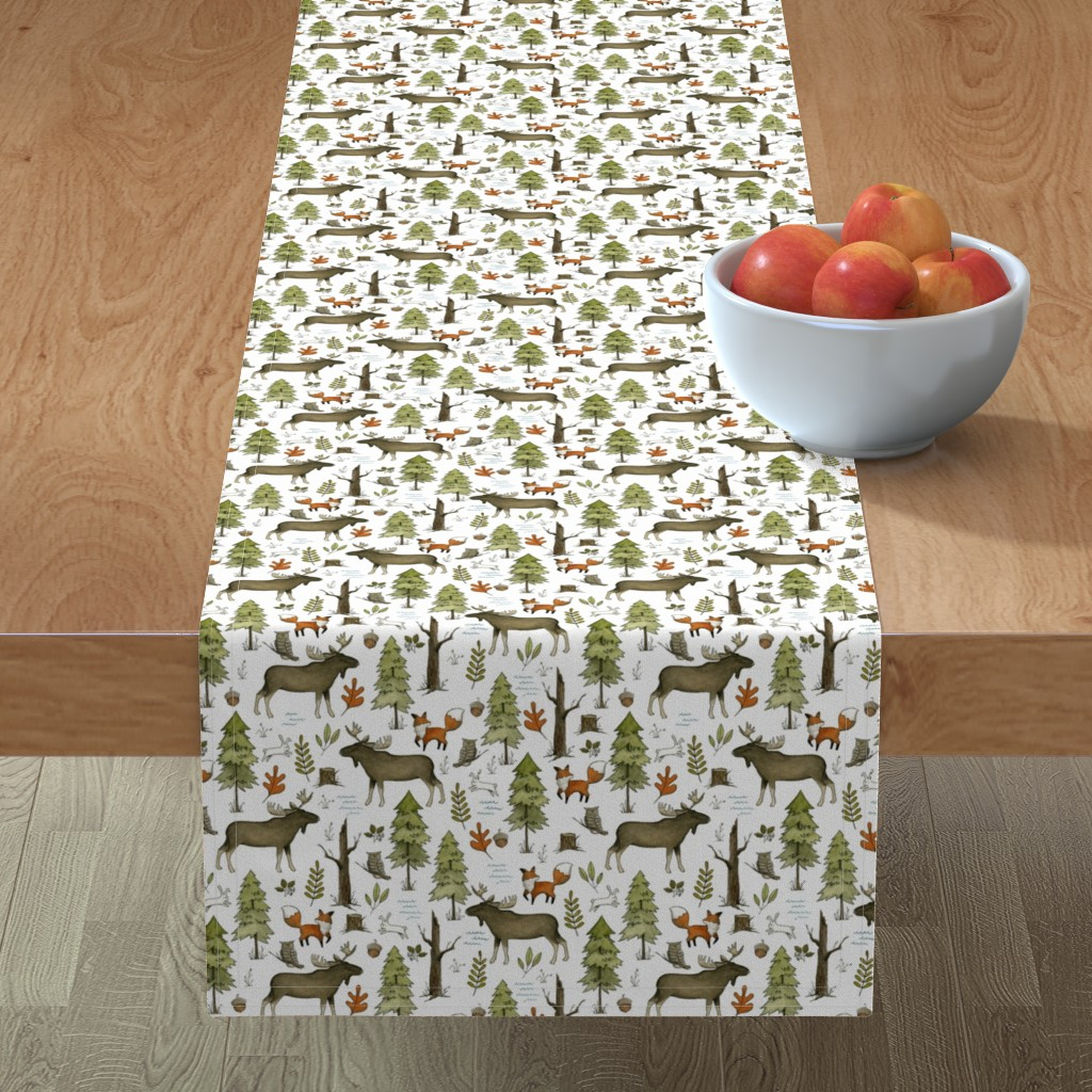 Minorca Table Runner featuring Forest Walks, Small Scale by papercanoefabricshop