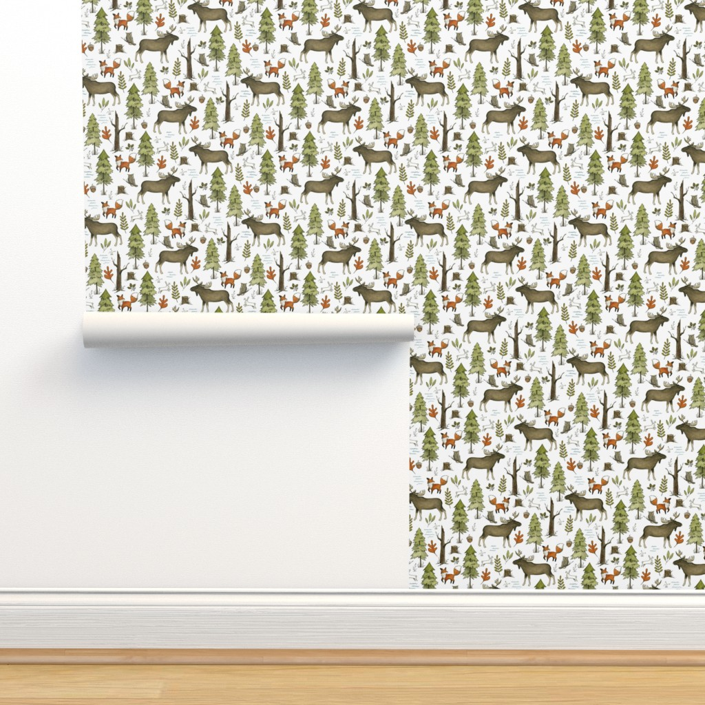 Isobar Durable Wallpaper featuring Forest Walks, Small Scale by papercanoefabricshop