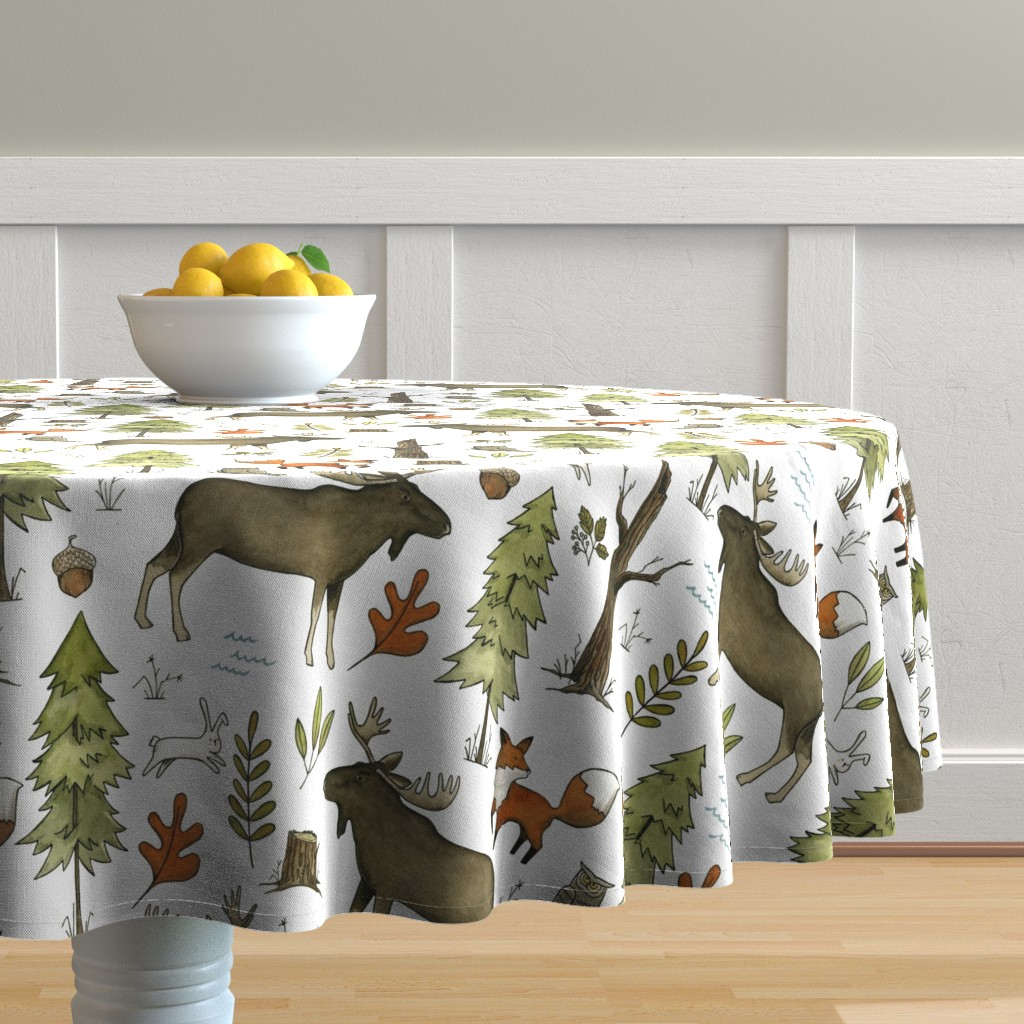 Malay Round Tablecloth featuring Forest Walks, Large Scale by papercanoefabricshop