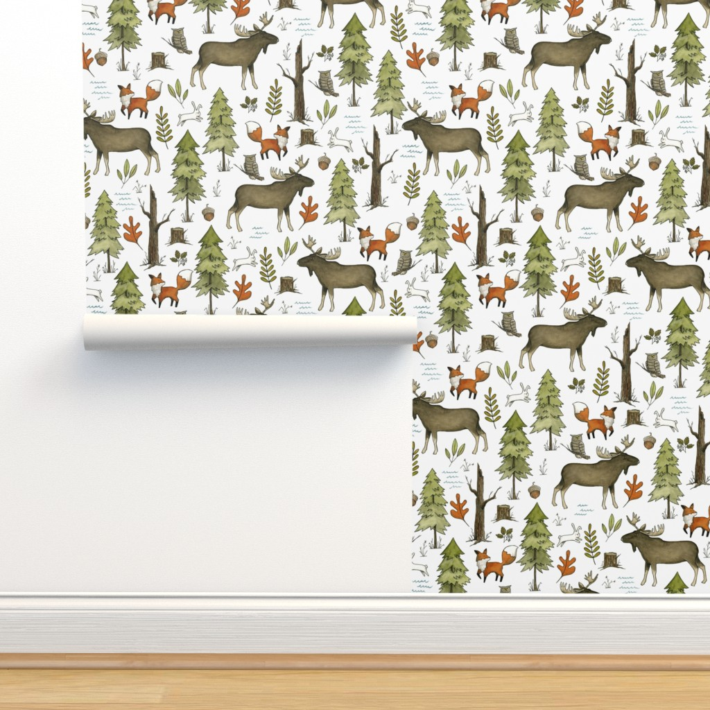 Isobar Durable Wallpaper featuring Forest Walks, Large Scale by papercanoefabricshop