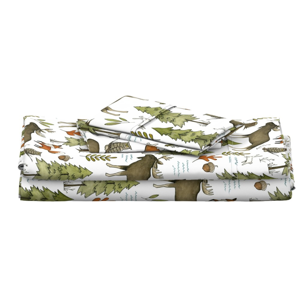 Langshan Full Bed Set featuring Forest Walks, Large Scale by papercanoefabricshop