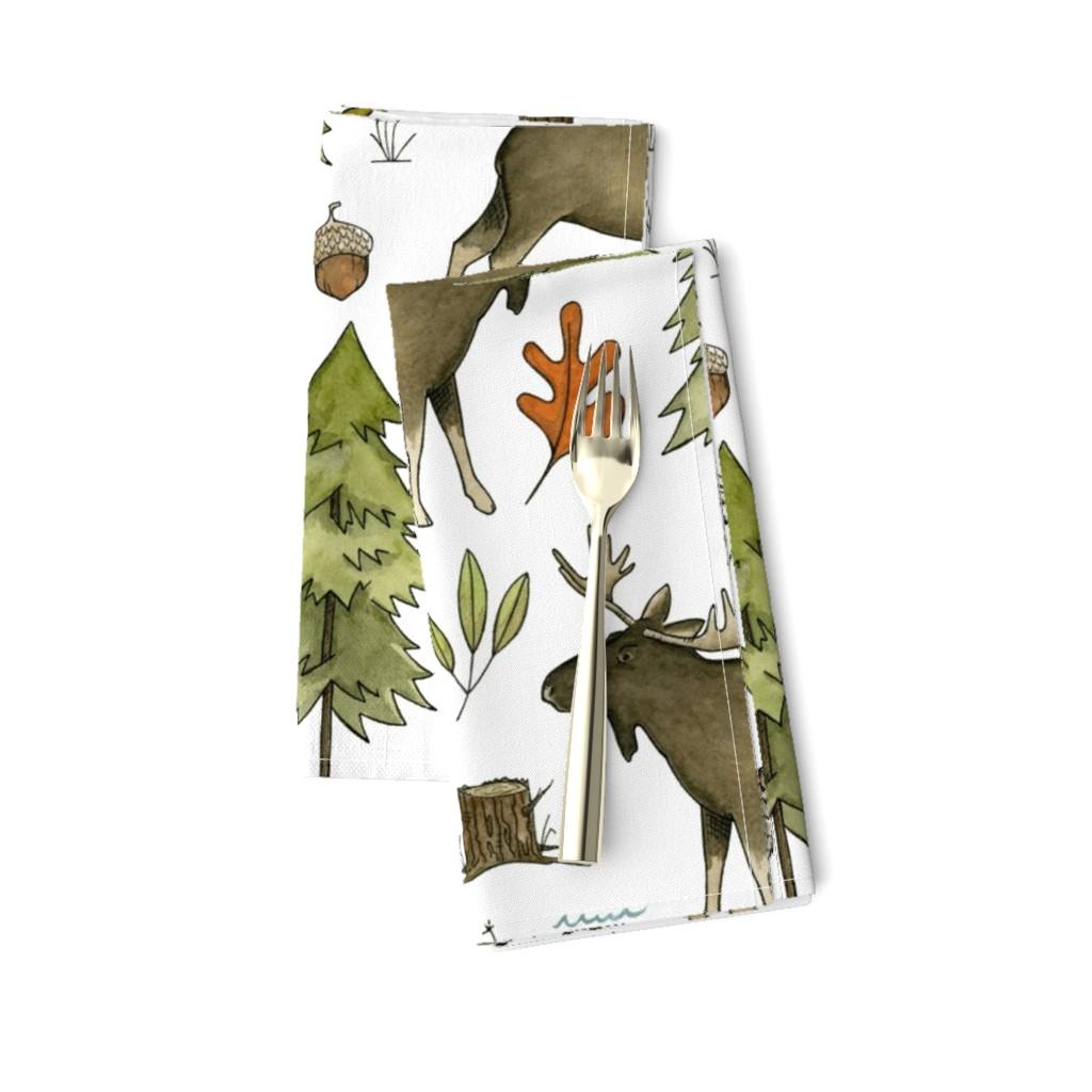 Amarela Dinner Napkins featuring Forest Walks, Large Scale by papercanoefabricshop
