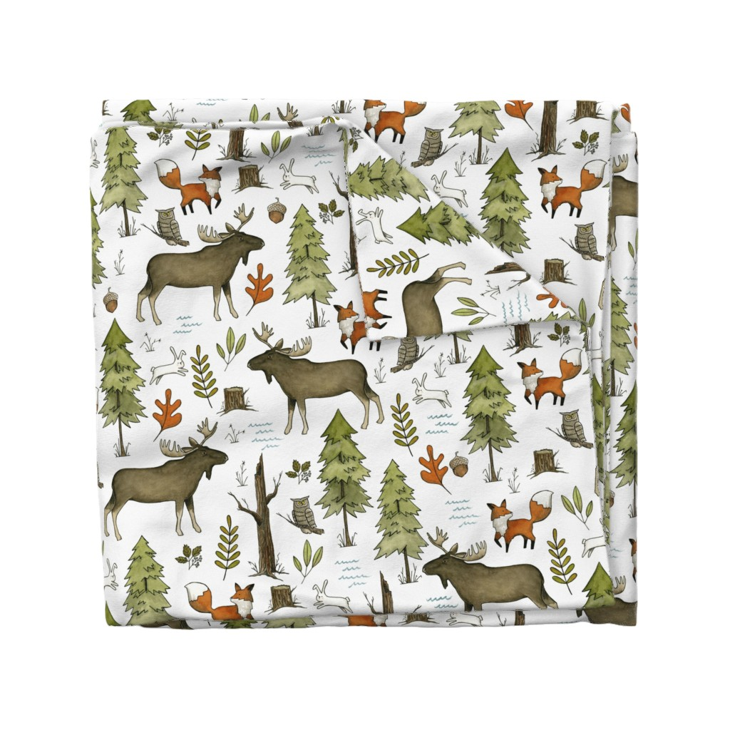 Wyandotte Duvet Cover featuring Forest Walks, Large Scale by papercanoefabricshop