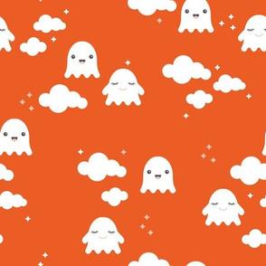 Ghosts and clouds halloween sky kawaii illustration design for sleepy kids orange