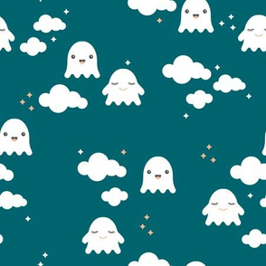 Ghosts and clouds halloween sky kawaii illustration design for sleepy kids blue