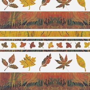 Fall colors autumn leaves cheater quilt border print