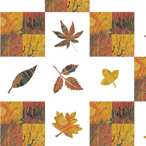 wholecloth quilt autumn leaves faux patchwork