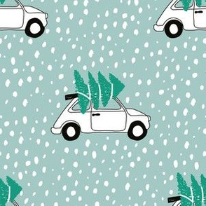 Driving home for Christmas Vintage Fiat 500 christmas tree winter snow wonderland green mint