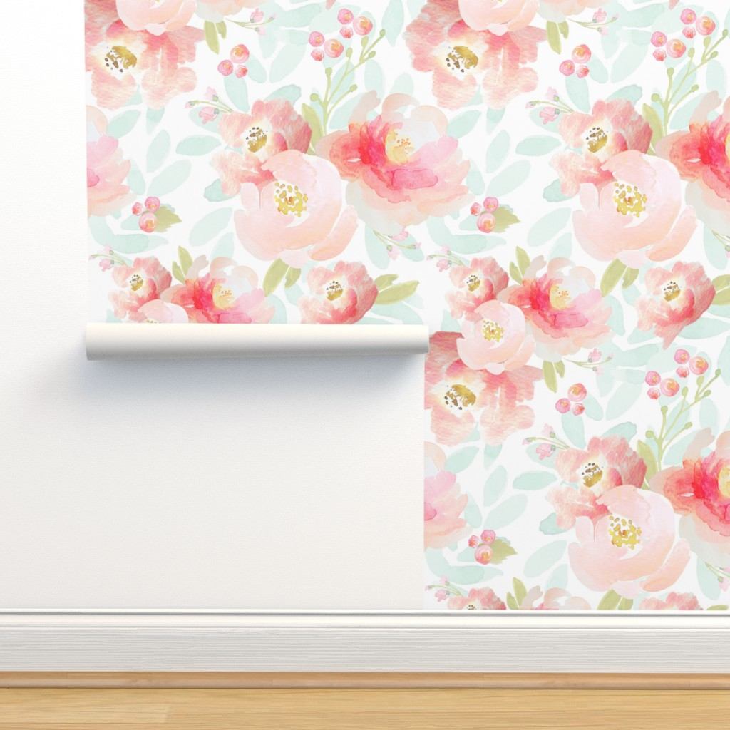 Isobar Durable Wallpaper featuring Indy Bloom Design Plush Pink Florals A2 by indybloomdesign
