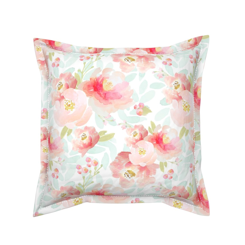 Serama Throw Pillow featuring Indy Bloom Design Plush Pink Florals A2 by indybloomdesign