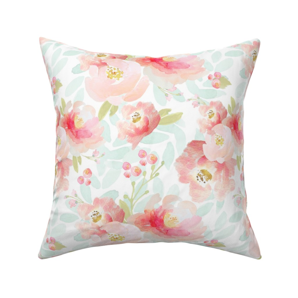 Catalan Throw Pillow featuring Indy Bloom Design Plush Pink Florals A2 by indybloomdesign