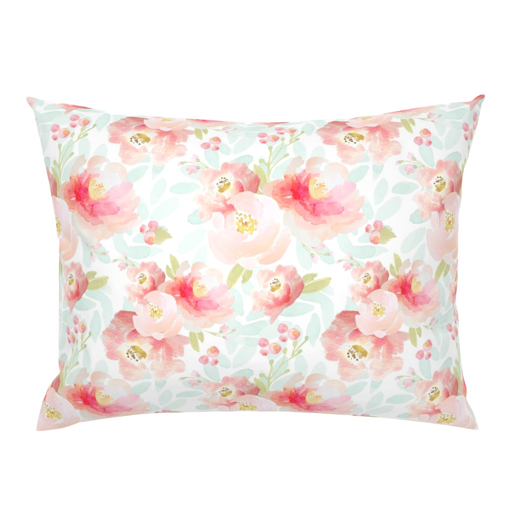 Campine Pillow Sham featuring Indy Bloom Design Plush Pink Florals A2 by indybloomdesign