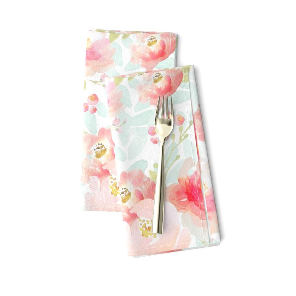 Amarela Dinner Napkins featuring Indy Bloom Design Plush Pink Florals A2 by indybloomdesign