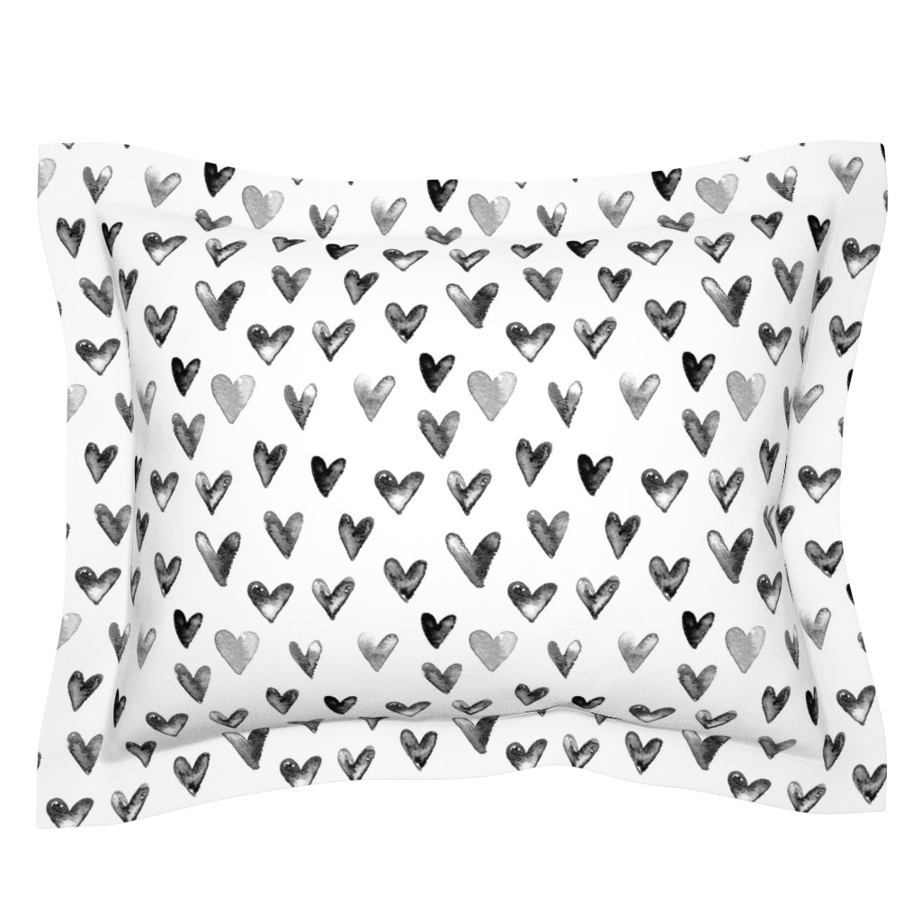 Sebright Pillow Sham featuring Watercolor Hearts in Black and White by hipkiddesigns