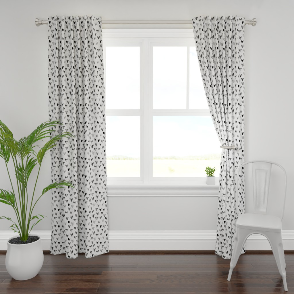 Plymouth Curtain Panel featuring Watercolor Hearts in Black and White by hipkiddesigns