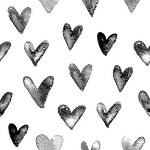 Watercolor Hearts in Black and White