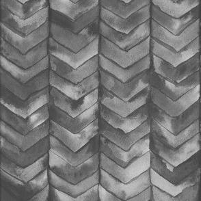 Watercolor Chevron in Black // watercolor painted chevron dark grey mermaid scale fabric
